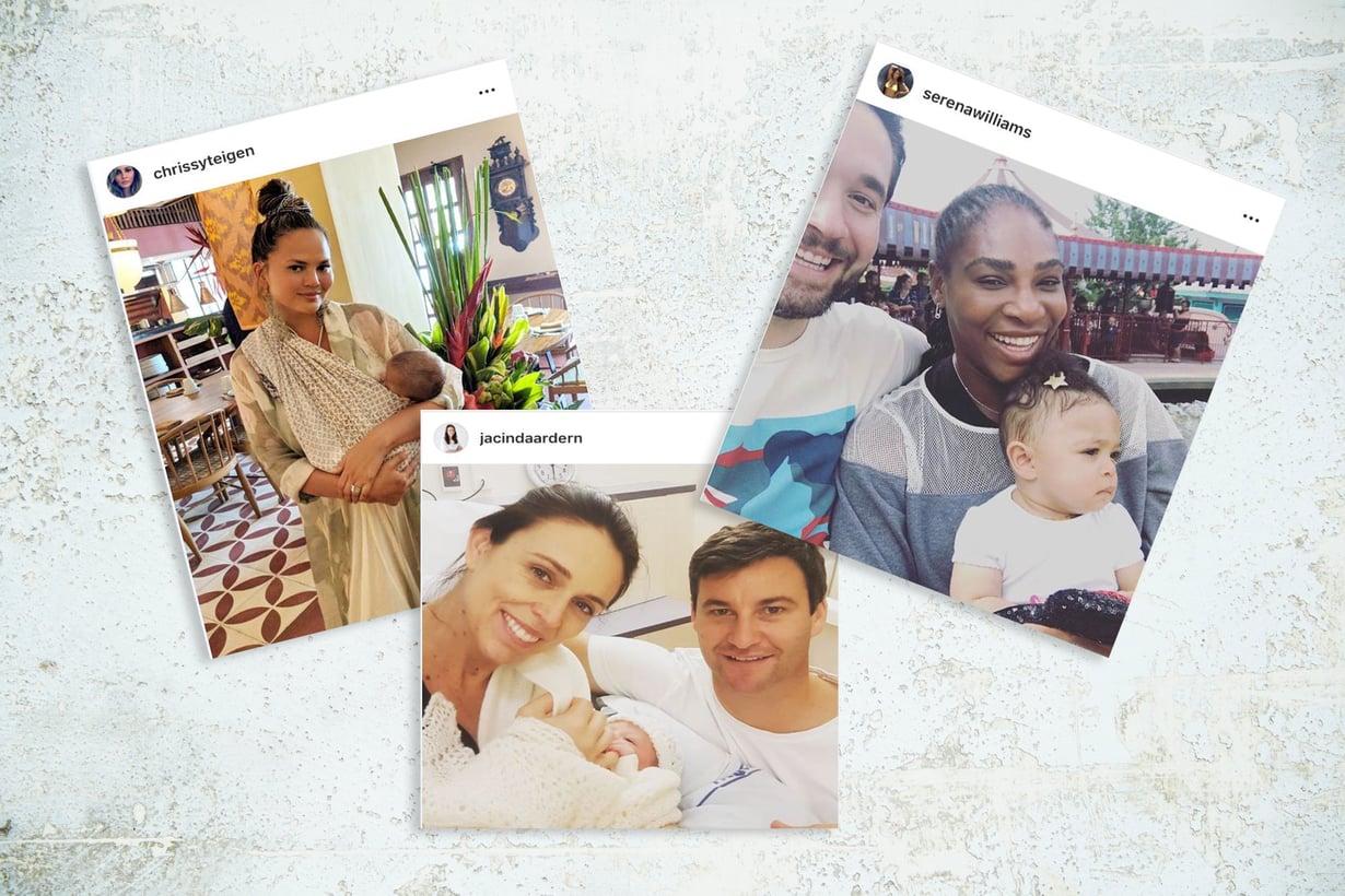 Chrissy Teigen, Serena Williams ja Jacinda Ardern puhuvat äitiydestä virkistävän avoimesti ja rehellisesti. Kuva: Vauvan ja Meidän Perheen toimitus