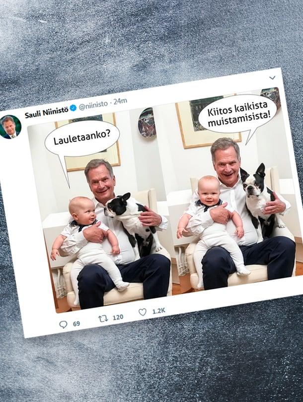 """Presidentti Sauli Niinistö julkaisi elokuussa 70-vuotissyntymäpäivänsä kunniaksi yhteiskuvan Twitteriin hänestä ja Aarosta. Mukana myös perheen lemmikkikoira Lennu. Kuva: <span class=""""photographer"""">Twitter / @niinisto</span>"""