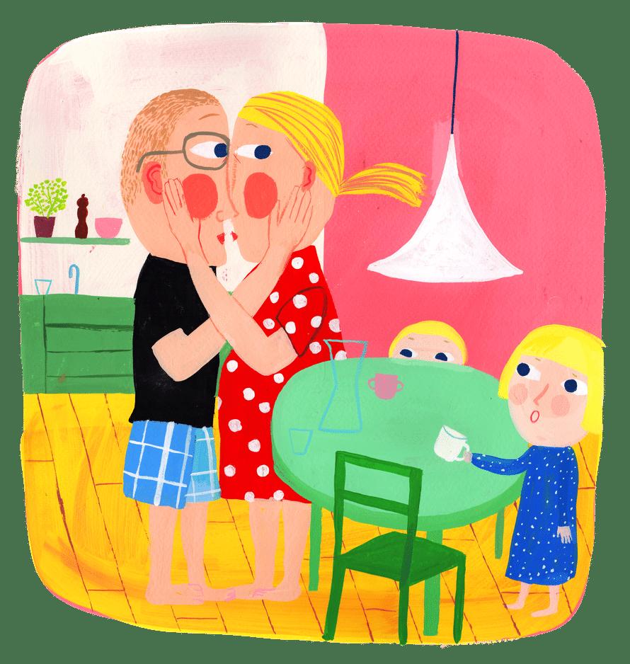 Lapsiperheen vanhemmista tuntuu usein siltä, että silmä- ja korvapareja on kotona liikaa. Kuvitus: Matti Pikkujämsä