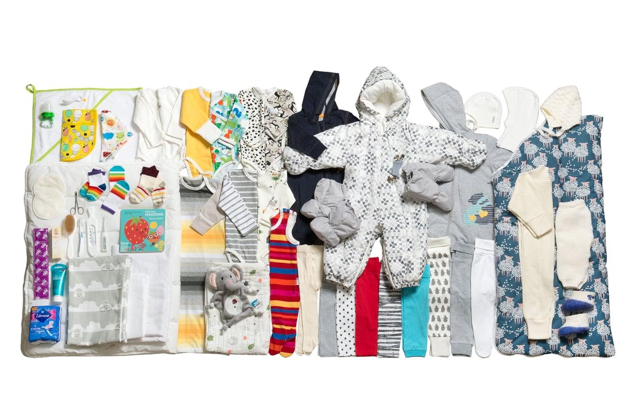 Vuoden 2018 äitiyspakkauksen tuotteista suurin osa tulee Kiinasta. Kuva: Annika Söderblom / Kela