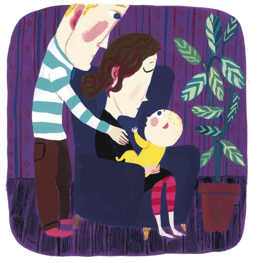 Läheisten hoiva tukee vauvan kehitystä, kun äidillä on voimat vähissä. Kuvitus: Matti Pikkujämsä