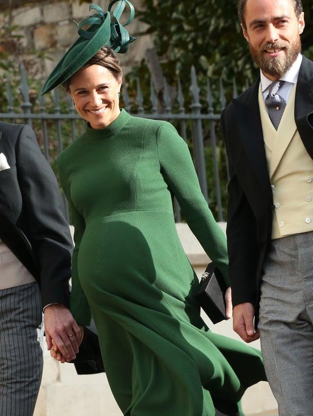 """Pippa Middleton sekä hänen aviomiehensä James Matthews edustivat vielä perjantaina 12. lokakuuta prinsessa Eugenien häissä. Kuvassa oikealla Pipan veli James Middleton. Kuva: <span class=""""photographer"""">MVPhotos</span>"""