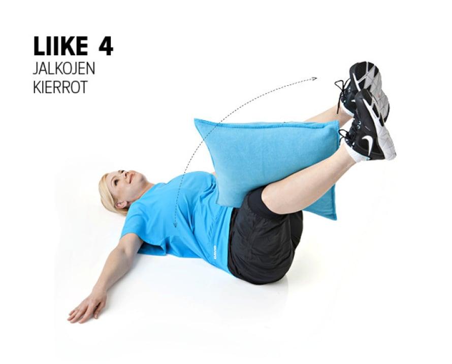 Liike: Käy selinmakuulle, ojenna jalat melkein suoriksi kohti kattoa ja laita tyyny polvien väliin. Aseta kädet sivulle t-asentoon. Vie jalkoja oikealle puolelle puristaen jalkoja sen verran yhteen, että tyyny pysyy mukana. Vie jalat takaisin keskelle ja kierrä vasemmalle puolelle. Tee kiertoja 15–20 molemmille puolille.Muista: Pidä hartiat ja olkapäät lattiassa.Vaikutusalueet: Vinot vatsalihakset.