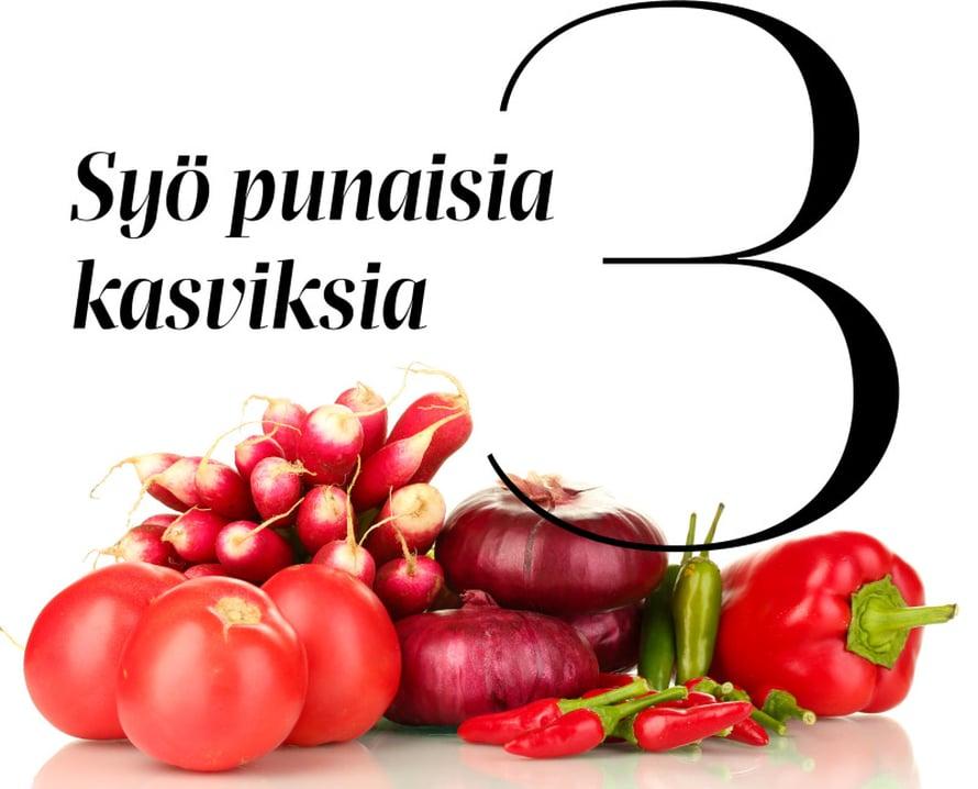 Kasvisten terveelliset yhdisteet ovat samoja, joista ne saavat värinsä. Etenkin punaiset, oranssit ja kellertävät kasvikset sisältävät paljon immuunijärjestelmälle tärkeitä karotenoideja. Ne tekevät ihmisessä saman kuin kasveissa: suojaavat soluja.Punaisia kasviksia ei tarvitse syödä raakana, sillä monien yhdisteiden, kuten tomaatin lykopeenin, hyväksikäytettävyys elimistössä paranee kypsennyksen seurauksena. Lykopeenin on tutkimuksissa todettu suojaavan muun muassa syöpä-, sydän- ja verisuonitaudeilta.Beetakaroteeni värjää porkkanan oranssiksi ja paprikan keltaiseksi. Elimistö valmistaa beetakaroteenista A-vitamiinia, joka pitää muun muassa limakalvot kunnossa. Kun limakalvot ovat ehjät, virusportti elimistöön on kiinni.