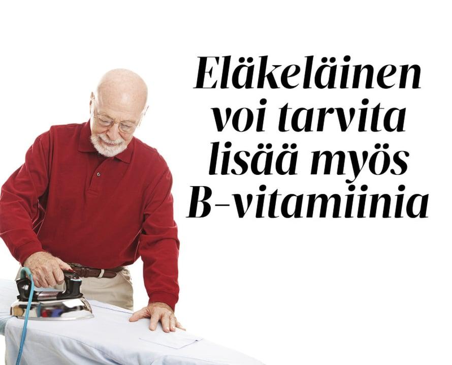 Jotkut iäkkäät kärsivät B12-vitamiinin imeytymishäiriöstä. Syy ei ole ikävuosissa vaan mahalaukkua surkastuttavassa tulehduksessa tai muissa sairauksissa. Todettu imeytymishäiriö hoidetaan vitamiinipistoksin.Jos B-vitamiinin puutos johtuu yksipuolisesta ruokavaliosta, siihen auttaa monivitamiinipilleri. B-vitamiinien niukkuuden on arvioitu lisäävän riskiä muistisairauksiin, sydän- ja verisuonisairauksiin, suolistosyöpiin ja masennukseen.Yli 60-vuotiaillle suositellaan muita enemmän D-vitamiinia, koska vanhetessaan iho ei pysty muodostamaan sitä auringonvalosta yhtä tehokkaasti kuin aiemmin.